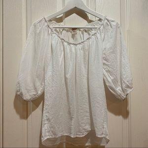 Sundance Boho White Cotton Blouse Top XS EUC Shirt